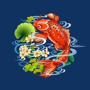 Koi Carp  Embroidery Template blue