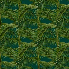 Emerald Green Exotic Palm Tree Pattern