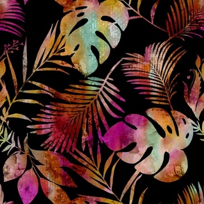 Tropical Leaves Vibrant Colors On Black Smaller Scale