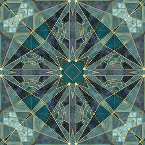 Elegant Teal Green Art Deco Stained Glass