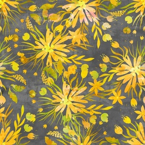 Yellow And Grey Fancy Florals