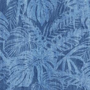 Blue Jeans Denim Tropical Monstera Leave