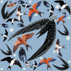Swallows Martins and Swift pattern baby blue