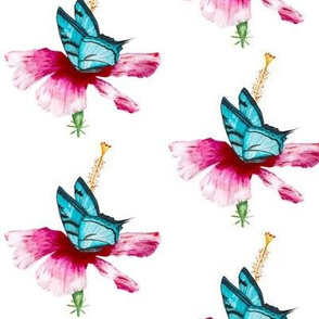 Hibiscus and butterfly - watercolor tropical nature florals