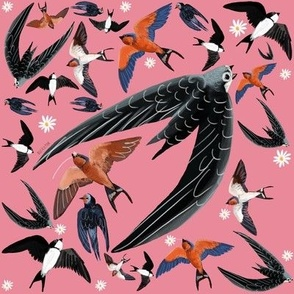 Swallows and swift pattern pink