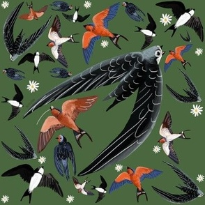 Swallows and Swift in green pattern