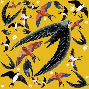 Swallows and Swift in yellow pattern