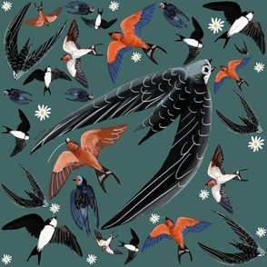 Swallows and Swift in teal pattern