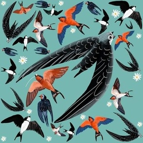 Swallows Martins and Swift pattern turquoise
