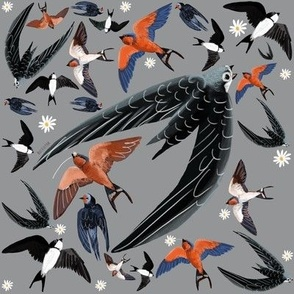 Swallows and swift pattern grey