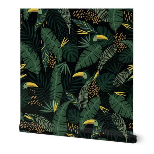 Large Dark Green Moody tropical Hawaiian Palm Leaves  with Toucan Bird Large-scale Wallpaper