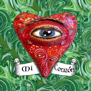 embroidery template, eye heart folk art, mi corazon, sacred heart, red green black and white