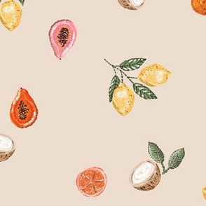 Embroidered Tropical Fruit