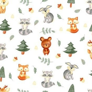 Watercolor woodland cute baby animals in forest