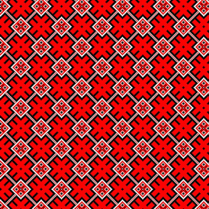 Fertile Land - Ethno Slavic Symbol Folk Pattern - Orepey Sown Field - Obereg Ornament - Black Scarlet Red White - Small Scale