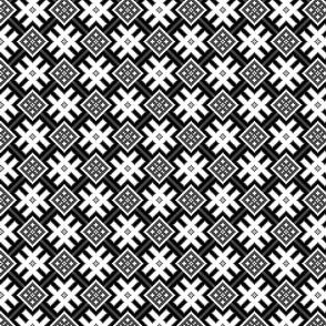 Fertile Land - Ethno Slavic Symbol Folk Pattern - Orepey Sown Field - Obereg Ornament - Black Gray White - Small Scale