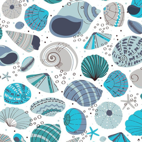 """Shells in Blue Large 24"""""""