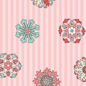 Rosettes on pink stripes medium