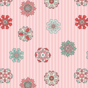 Rosettes on pink stripes small