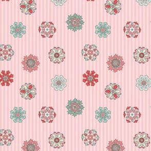 Rosettes on pink stripes tiny