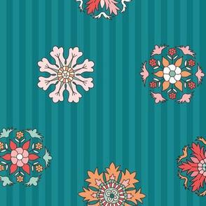 Rosettes on peacock teal stripes medium