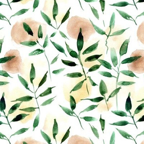 watercolor leaves and spots - painted nature tropics for modern home decor a250-1