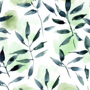 watercolor leaves and spots - painted nature tropics for modern home decor a250-2