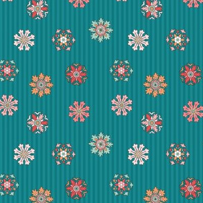 Rosettes on peacock teal stripes tiny