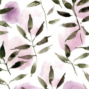 artistic nature - watercolor leaves and spots - painted nature tropics for modern home decor a250-4