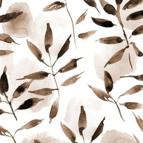 earthy boho watercolor leaves and spots - painted nature tropics for modern home decor a250-6
