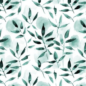 Emerald watercolor leaves and spots - painted nature tropics for modern home decor a250-9