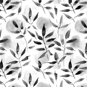 Noir artistic nature -  watercolor leaves and spots - painted nature tropics for modern home decor a250-11