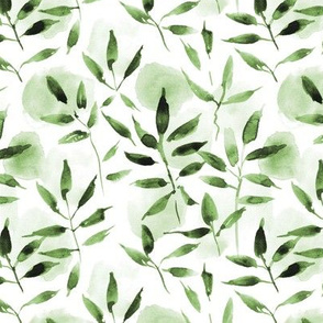 modern nature - watercolor leaves and spots - painted nature tropics for modern home decor a250-12