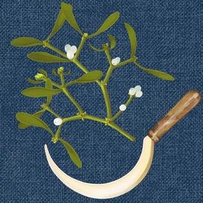 Golden Sickle and Mistletoe (dark blue)