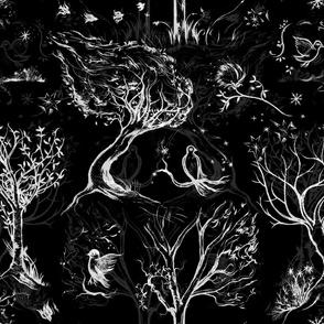 Trees black white grey toile