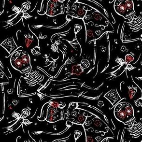 skeleton dance on black