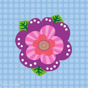 Colorful Wonky Mod Flower - embroidery template/patch
