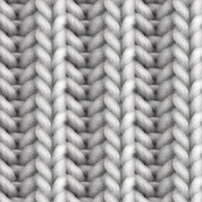 Knitted brioche - medium gray solid