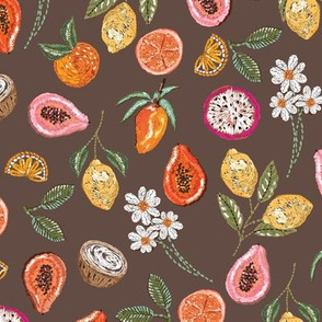 Tropical Fruit Mix Embroidery