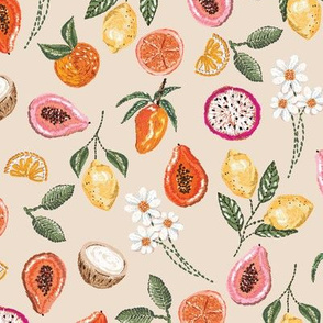 Tropical Fruit Mix Embroidery _beige