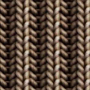Knitted brioche - medium brown solid