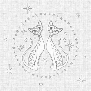 Charming Kittens Embroidery Template