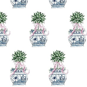 Blue Chinoiserie SC  Pink RIbbon Topiary