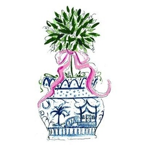 Blue Chinoiserie SC  Pink RIbbon Topiary -ch
