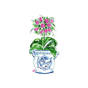 Chinoiserie medallion lily Topiary