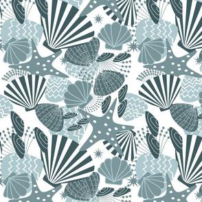 Seashells Magic Monochrome Blue