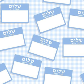 Scattered Hebrew 'hello my name is' nametags - light blue on baby blue gingham