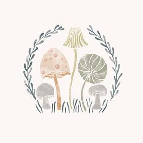 Wild watercolor mushrooms