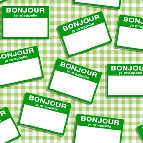 Scattered French 'hello my name is' nametags - green on gingham