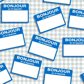 Scattered French 'hello my name is' nametags - blue on gingham